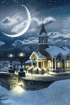 Snow moon christmas scene art
