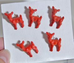 Vintage Buttons Figural Red Deer Adorable 40's 50's Mid Century Kitsch Fashion Sewing Buttons Bambi by OffbeatAvenue on Etsy