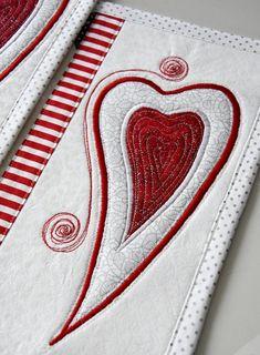 christmas placemats linens table set heart applique love Kajura quilts handmade original design by Kajura on Etsy Applique, Christmas Placemats, Table Settings, Colours, The Originals, Fabric, Design, Handmade, Etsy