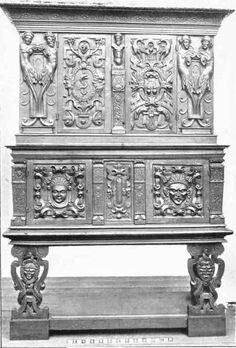 This cabinet appears to be a precursor to the armoire. Notice the heavy carving including some mascarons and half figures. Baroque Furniture, Old Furniture, Furniture Styles, Home Decor Furniture, Furniture Design, Renaissance Furniture, Renaissance Art, Miguel Angel, Antique Prints