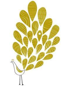 A Little Peacock Print Bird illustration Wedding by dekanimal, $18.00
