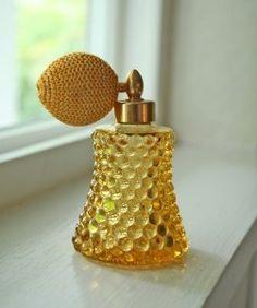 hobnail amber perfume atomizer bottle