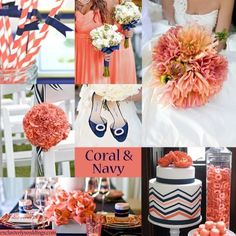 coral, navy and green wedding - Google Search