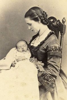 A truly charming photo of a mother and child in the 1850's .