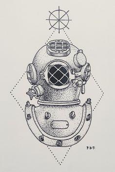 Image result for antique diving helmet illustration