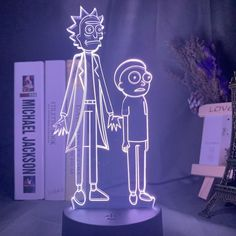 LED 3D Night Light Cartoon Table Lamp - Violet / 7 colors no remote
