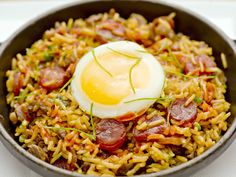The spicy wagyu beef-fried rice is garnished with a poached egg at Bourbon Steak.