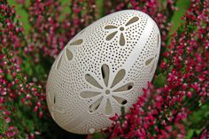 Eggshell of Polish goose - handmade sculpted #73 - transparent easter carved egg ornament decoration unique gift pysanka ażurowa pisanka