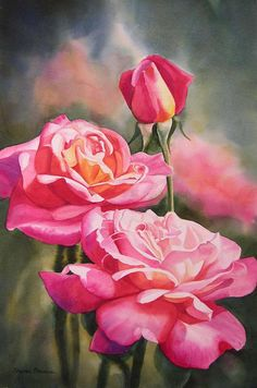 Blushing Roses With Bud Painting  - Sharon Freeman