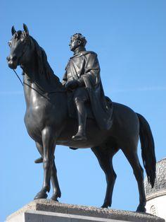 Georgians celebrated in London statues, via Regina Knowles at Regency History (Equestrian statue of George IV, Trafalgar Square, London) Equestrian Statue, Trafalgar Square, Georgian, Lion Sculpture, Horses, London, History, Regency, Celebrities