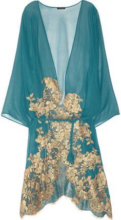 Mezza Luna lace-appliquéd silk-chiffon robe by Rosa Mosario colors Belle Lingerie, Pretty Lingerie, Designer Lingerie, Luxury Lingerie, Vintage Lingerie, Beautiful Lingerie, Sexy Lingerie, Lingerie Silk, Bustiers