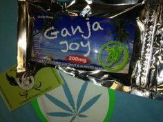 Ganja Joy  Just like an Almond Joy, but infused with 200mg THC! Sweet coconut, sweetened milk, powder sugar, hash oil, salt, vanilla, and whole almonds make up this Ganja Joy!  Only $14 or 3/$38 www.mmjkarma.com