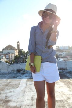 Nothing reads summer like a chambray shirt and white shorts.