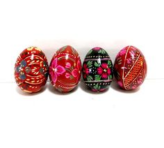 Hand Painted Wooden Eggs Bright Colors Vintage Home by CoconutRoad