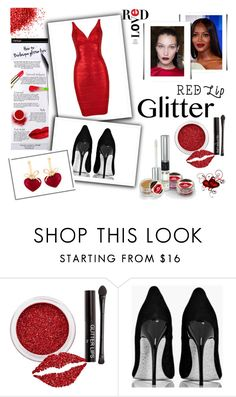"""Glitter Lips"" by giselsimon ❤ liked on Polyvore featuring beauty, Versace, Boohoo, KDIA and glitterlips"