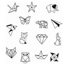 Geometrische Tier Diamond Shapes Knöchel Handgelenk temporäre Tätowierung - Knöchel Tattoo - Party Tattoo to make temporary tattoo crafts ink tattoo tattoo diy tattoo stickers Origami Tattoo, Diy Tattoo, Tattoo P, Tattoo Style, Tattoo Ideas, Tattoo Drawings, Geometric Tattoo Design, Geometric Art, Geometric Animal
