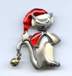 Vtg 1980s AJMC Christmas XMAS Kitty Cat w/Jingle Bell Enamel Pewter Tone Pin #AJMC