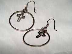 Retro Sterling Silver Cross Earrings by AntiqueAlchemists on Etsy, $15.00