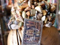 Cats and Books Woven Stone Chips Bracelet with Handmade Book Charm