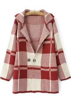 Plaid LOVE! Great Coat to Mix with other Plaids! Oversized Red and White Plaid Print Button Cardigan
