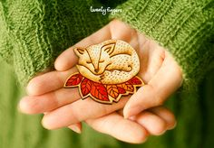 Wood Laser cut Brooch Sleeping Fox by TheTwentyFingers on Etsy @toasterkate