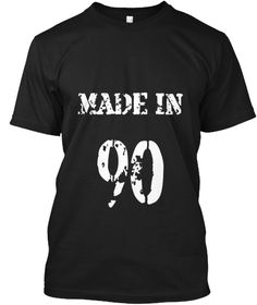 Made In 90 Black T-Shirt Front