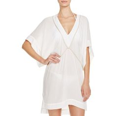 ViX Michele Tunic Swim Cover Up ($200) ❤ liked on Polyvore featuring swimwear, cover-ups, off white, cover up swimwear, vix swimwear, vix cover ups, swim cover up and vix swim wear