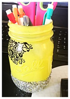 Glittery Cheetah Print Decorative Mason Jar via Etsy