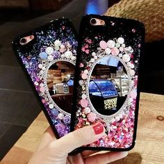 88e0e14cfb6 Handmade Luxury 3D Pearl Mirror Rhinestones liquid Stars Case Iphone 8 Plus