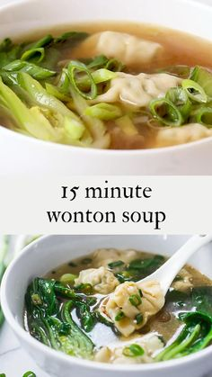 15 Minute Wonton Soup with flavorful Leek Ginger Broth – loaded up with healthy vibrant greens – a fast and easy weeknight diner! Wonton Recipes, Easy Soup Recipes, Healthy Dinner Recipes, Vegetarian Recipes, Chicken Recipes, Cooking Recipes, Vegetarian Dumpling Soup, Chinese Dumpling Soup, Leek Soup Healthy
