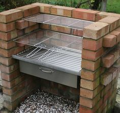 There are lots of ways to build brick barbecues which, if done properly, can become an interesting characteristic in your garden. A Brick BBQ Kit is going to bring you endless enjoyment from having barbecue parties in the garden with family and friends, a Brick Grill, Brick Ovens, Stainless Steel Grill, Charcoal Bbq, Design Jardin, Outdoor Cooking, Outdoor Kitchens, Backyard Landscaping, Landscaping Ideas