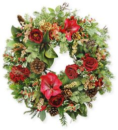 Shop Mix Wreath from Jim Marvin at Horchow, where you'll find new lower shipping on hundreds of home furnishings and gifts. Holiday Wreaths, Christmas Decorations, Holiday Decor, Floral Wreath, Rose, Crafts, Greenery, Spring, Products
