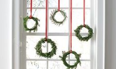 Miniature Wreaths to dress up a window for Christmas