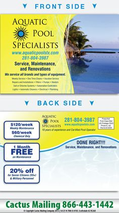 Cheap Pool Service pool service postcards gallery | cactus mailing #cactusmailing