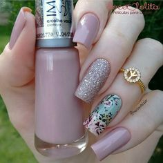 34 bright floral nail designs you should try for spring 2019 028 - Spring Nails Perfect Nails, Gorgeous Nails, Pretty Nails, Joy Nails, Beauty Nails, Manicure E Pedicure, Elegant Nails, Cute Acrylic Nails, Creative Nails