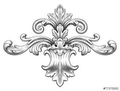 Vector: Vintage baroque frame scroll ornament vector
