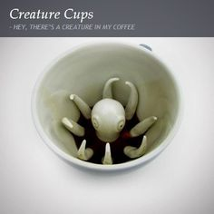 Octopus Creature Cup - This sneaky octopus at the bottom of this cup hides in the inky darkness of your favorite beverage. This octopus mug is one of Creature Cups' most popular design! My Coffee, Coffee Cups, Tea Cups, Morning Coffee, Funny Coffee, Coffee Beans, Design3000, Pinch Pots, Ceramic Animals
