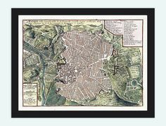 Old Map of Madrid with gravures Spain Espana 1717 by OldCityPrints, $28.00