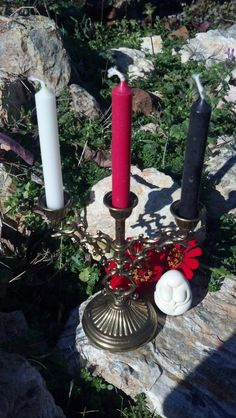Maiden Mother Crone candles with holder on Etsy, $15.00