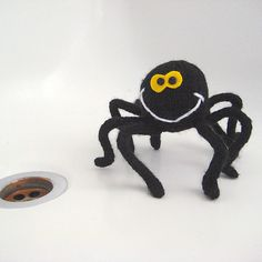 Free knitting pattern for Spidey spider toy - Amanda Berry designed this cute spider toy approximately tall and wide. The legs are i-cords with pipe cleaners inserted so Spidey can stand. Free Baby Patterns, Free Pattern, Crochet Patterns, Halloween Knitting Patterns Free, Free Knitting, Beginner Knitting, Knitting Needles, Free Spider, Aran Weight Yarn
