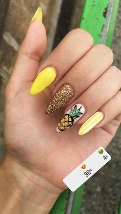 Pineapple Nail Design, Pineapple Nails, Pineapple Yellow, Watermelon Nails, Yellow Nails Design, Yellow Nail Art, Summer Acrylic Nails, Best Acrylic Nails, Beach Nail Designs