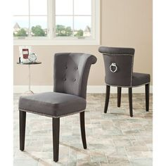 Safavieh Carrie Grey Polyester Side Chair (set Of 2)