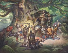 Giant Velles Protecting the Ancient Oak Tree