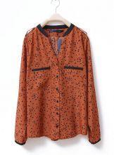 Pockets Polka Dot Stand Collar Chiffon Shirt Brown $31.00