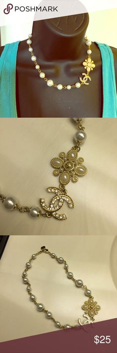 ☂Pearl and Gold Charm Necklace☂ brandnew and super pretty!💕 Jewelry Necklaces