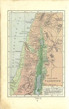 "Map of ""Physical Palestine"", from a vintage Bible"