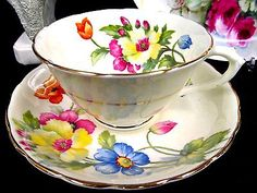 TUSCAN TEA CUP AND SAUCER FLORAL PAINTED TEACUP WIDE MOUTH PATTERN