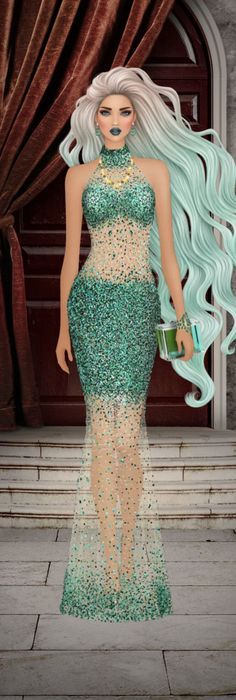 Fantasy Art Angels, Covet Fashion Games, Dressed To The Nines, Cool Sketches, Goddesses, Green Dress, Fairies, Pin Up, Barbie