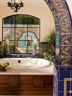 The fountain in the window! Mediterranean Bathroom Design, Pictures, Remodel, Decor and Ideas - page 4 Spanish Style Bathrooms, Spanish Bathroom, Mediterranean Bathroom, Mediterranean Style Homes, Spanish Style Homes, Spanish Tile, Spanish House, Spanish Colonial, Mediterranean Architecture