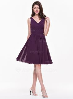 A-Line/Princess V-neck Knee-Length Ruffle Bow(s) Zipper Up Regular Straps Sleeveless No Grape Summer Fall Winter General Plus Chiffon Bridesmaid Dress Cheap Bridesmaid Dresses, Wedding Party Dresses, Bridesmaids, Lovely Dresses, Special Occasion Dresses, Chiffon Dress, Fashion Dresses, Summer Fall, Wedding Ideas
